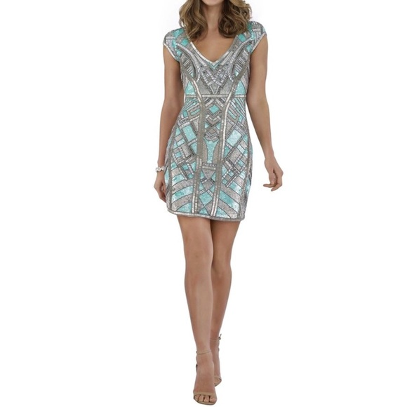 LARA Dresses & Skirts - LARA DRESSES 29909 GEOMETRIC BEADED COCKTAIL DRESS